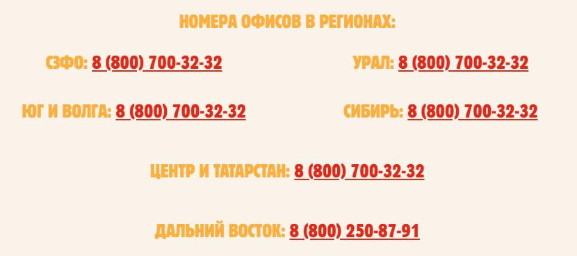 Номера офисов в регионах
